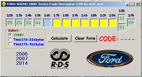 FORD SOUND 2000 Series Code Decrypter